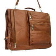 Expandable Leather Garment Bag in Saddle