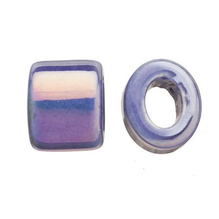 15pcs Spectrum Sapphire Porcelain Slider Beads For Licorice Leather - Oval Ring Style Glaze Finish 16x15.5mm