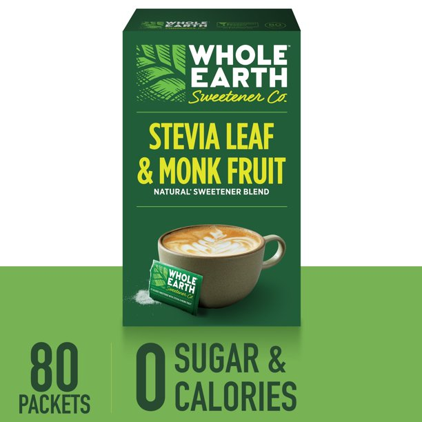 WHOLE EARTH SWEETENER Stevia Leaf and Monk Fruit Sweetener, Erythritol Sweetener, Sugar Substitute, Zero Calorie Sweetener, 80 Stevia Packets