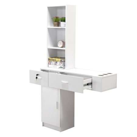 Wall Mount Hair Styling Barber Station Dressing Table Beauty Salon Spa Equipment Set with 2 Locked Drawers, 1 Cabinet and 3 Shelves