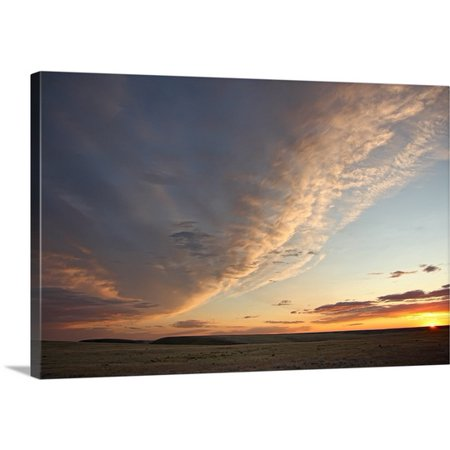 Great Big Canvas Robert Postma Premium Thick Wrap Canvas Entitled Skies Over Grasslands National Park At Sunset  Saskatchewan  Canada