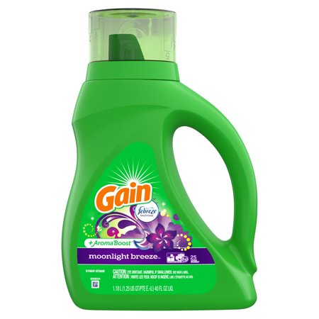 Gain + Aroma Boost Liquid Laundry Detergent with Febreze Freshness, Moonlight Breeze, 25 Loads 40 fl (Best Baby Detergent And Fabric Softener)