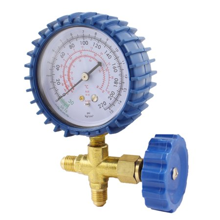 CT-466 Air Condition Blue Clear Single Manifold Gauge Brass Valve