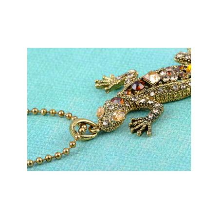 Golden Citrine Crystal (Golden Tone Topaz Crystal Rhinestone Lizard Salamander Reptile Pendant Necklace )