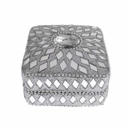 "Prayer Box Trinket Box-Beaded-Square-Silver (Approx 3"")"