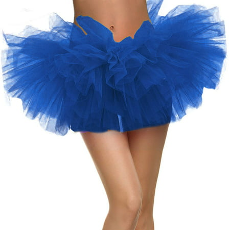 Adult Dance Vintage 5 layer Ballet Tutu Skirt Great for Running and Races, Royal - Grass Skirts For Adults