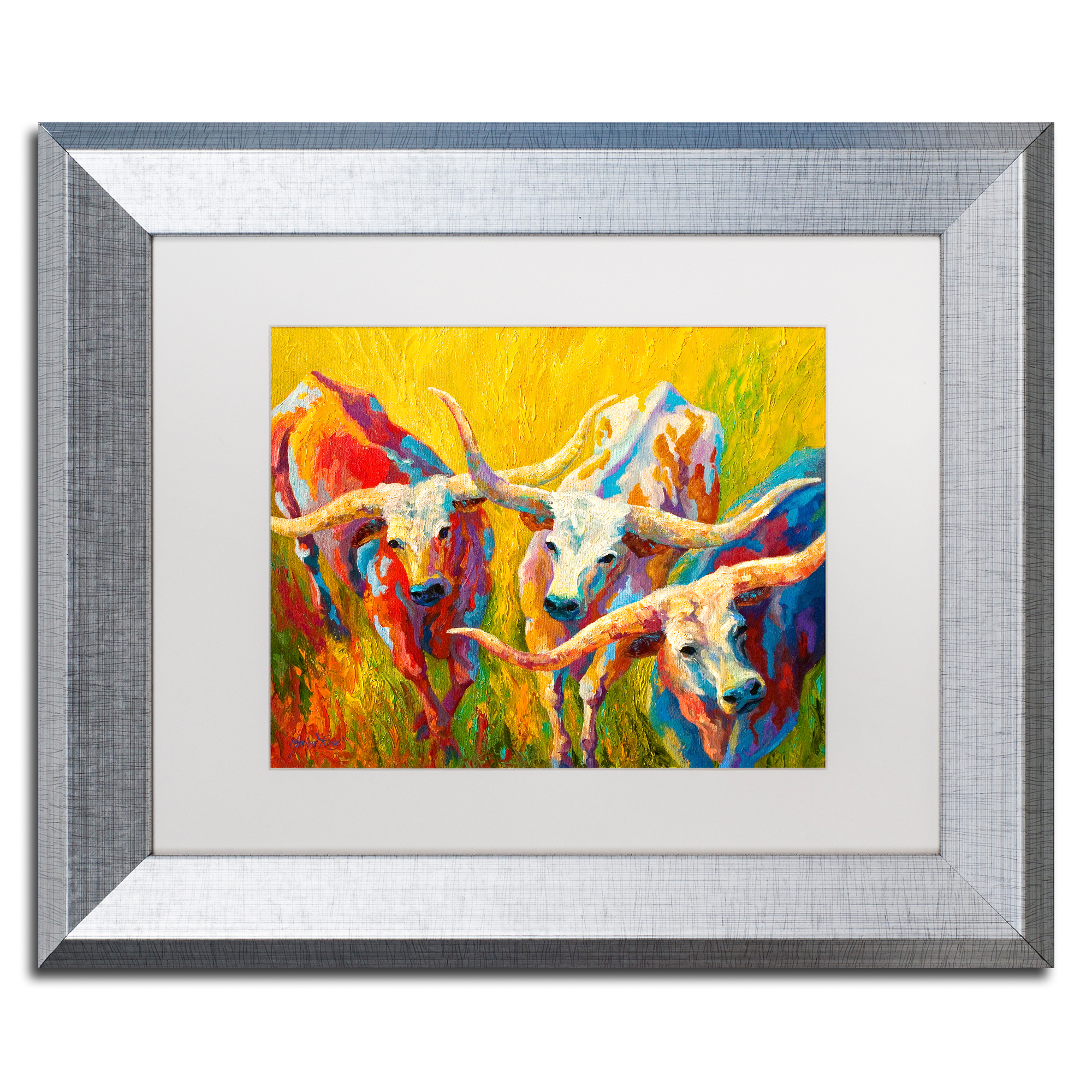 Trademark Fine Art 'Dance of the Longhorns' White Matte, Silver Framed Art by Marion Rose