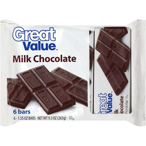 Great Value Milk Chocolate Bars, 1.55 oz, 6ct