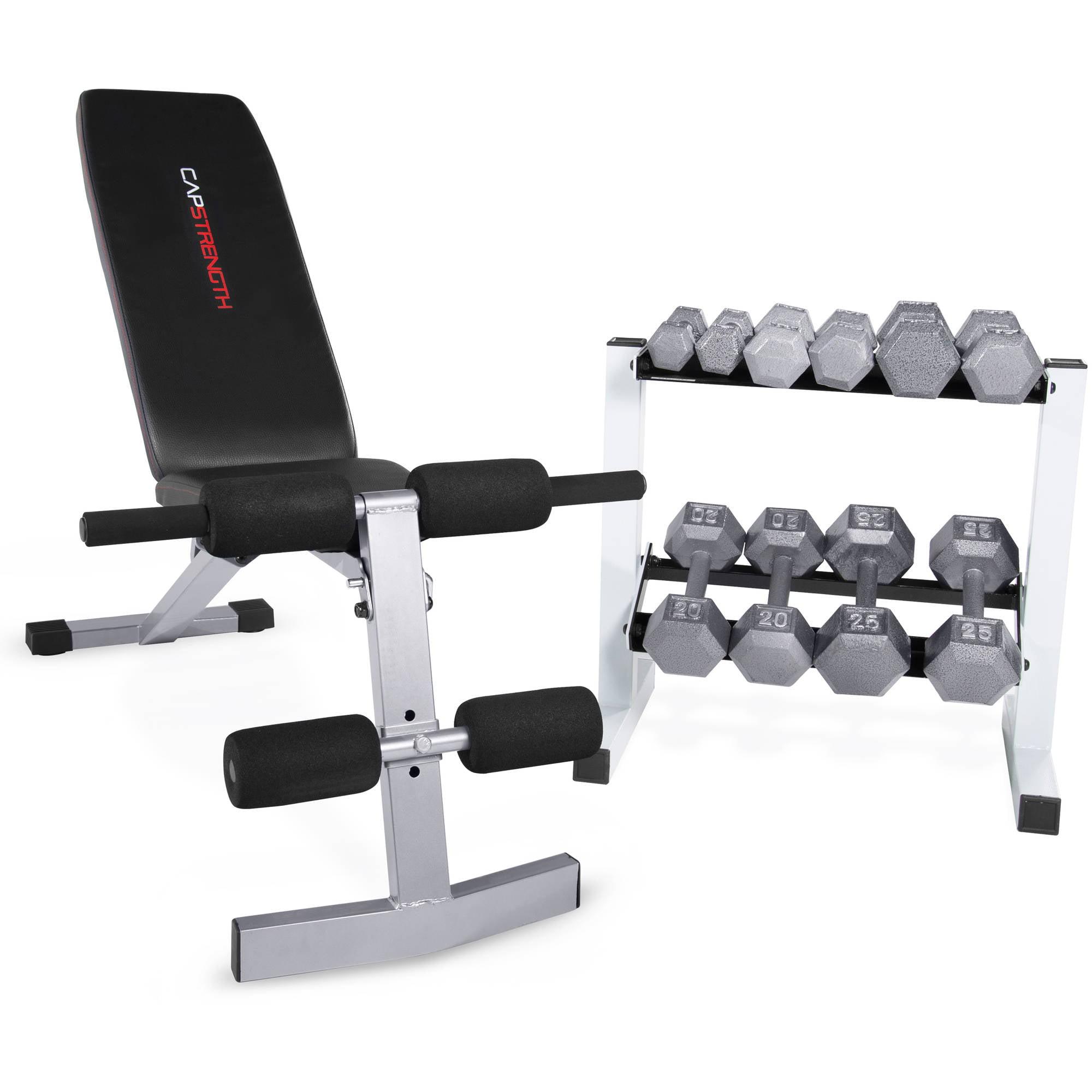 CAP Strength FID Bench with 150 lb Dumbbell Set - Walmart.com