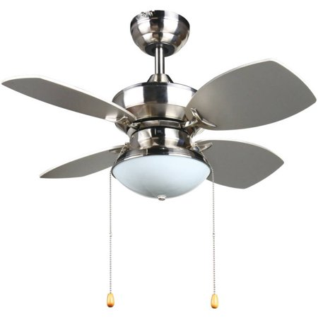 Aztec lighting transitional 28 inch ceiling fan in brushed nickel