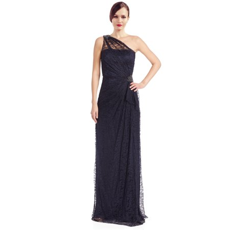 David Meister Lace Rhinestone One Shoulder Evening Gown Dress ...