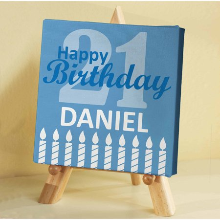 "Personalized Milestone Birthday Mini Canvas with Easel, 5"" x 5"""
