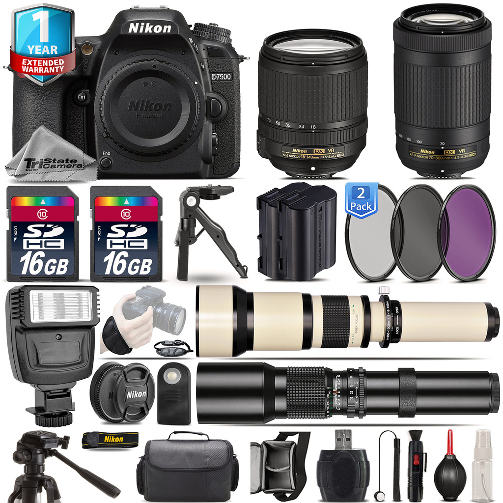 Nikon D7500 Camera + 18-140mm VR + 70-300mm VR + Extra Battery + 1yr Warranty by Nikon