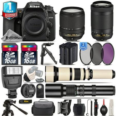 Nikon D7500 Camera + 18-140mm VR + 70-300mm VR + Extra Battery + 1yr Warranty
