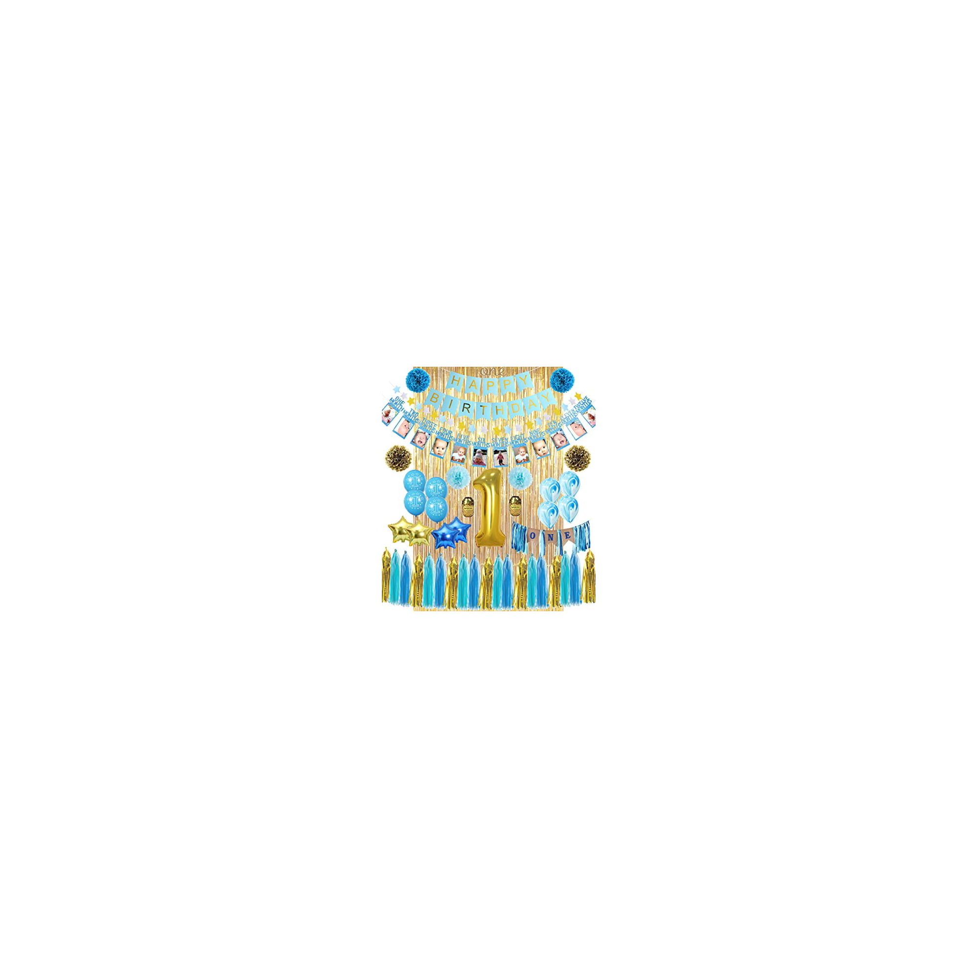 100st Birthday Boy Decorations  ALL-IN-100 MEGA Bundle!  With High Chair  Banner for Baby  Discount Direct Kids Party Decorations - Blue & Gold Boys  Set