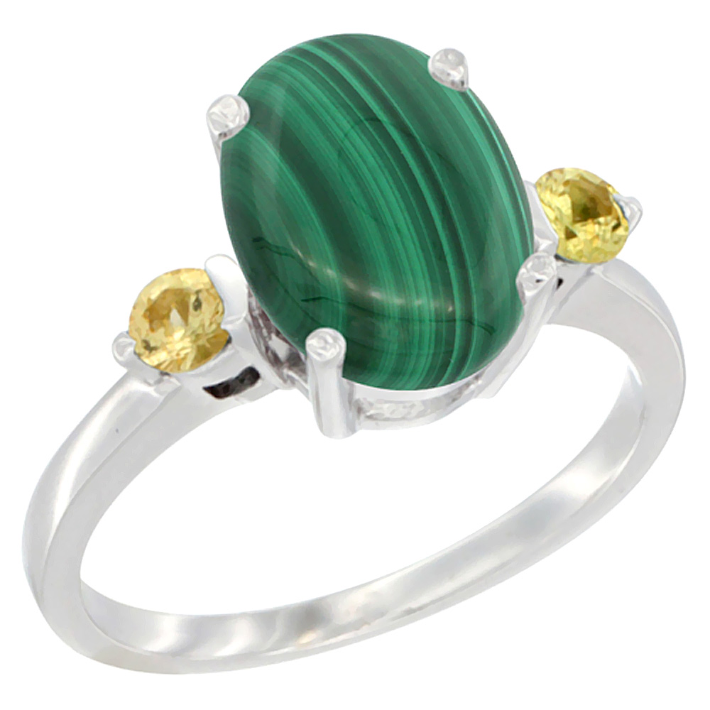 14K White Gold Natural Malachite Ring Oval 10x8mm Yellow Sapphire Accent, sizes 5 10 by WorldJewels