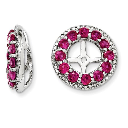 Roy Rose Jewelry Sterling Silver Diamond And Created Ruby Earring Jacket
