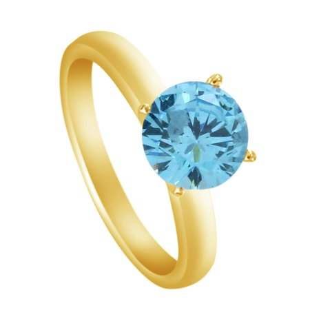 14k Gold Estate Ring - Round Cut Simulated Aquamarine Solitaire Ring in 14k Yellow Gold ( 4.25 Cttw ) By Jewel Zone US