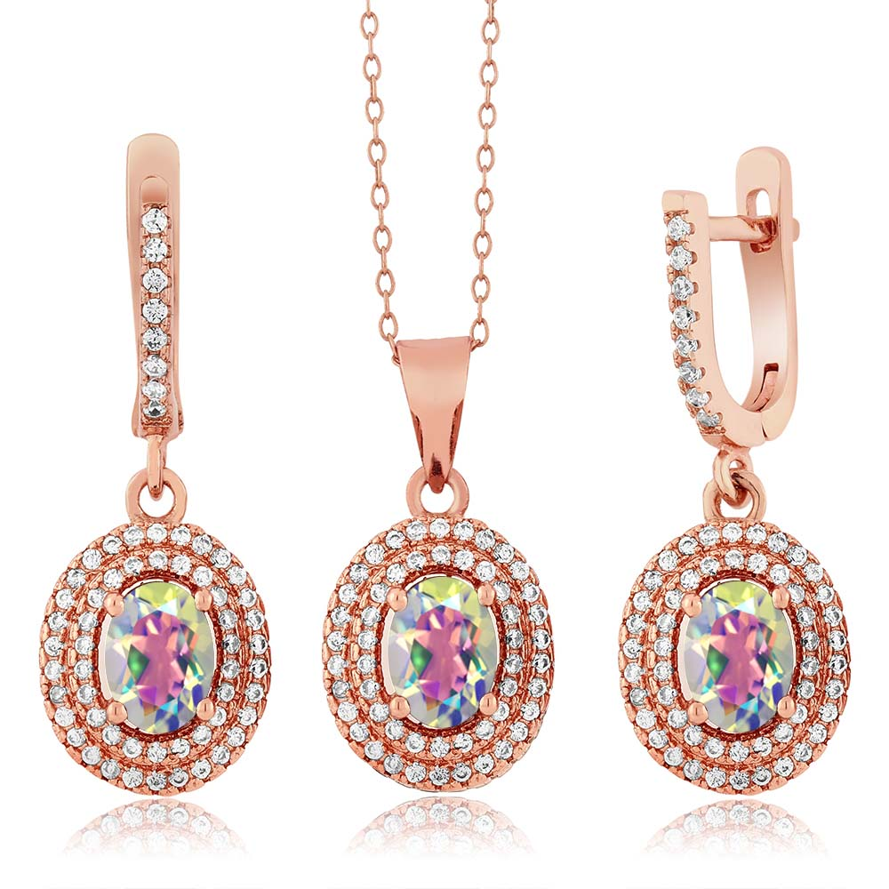 4.48 Ct Mercury Mystic Topaz 925 Rose Gold Plated Silver Pendant Earrings Set by