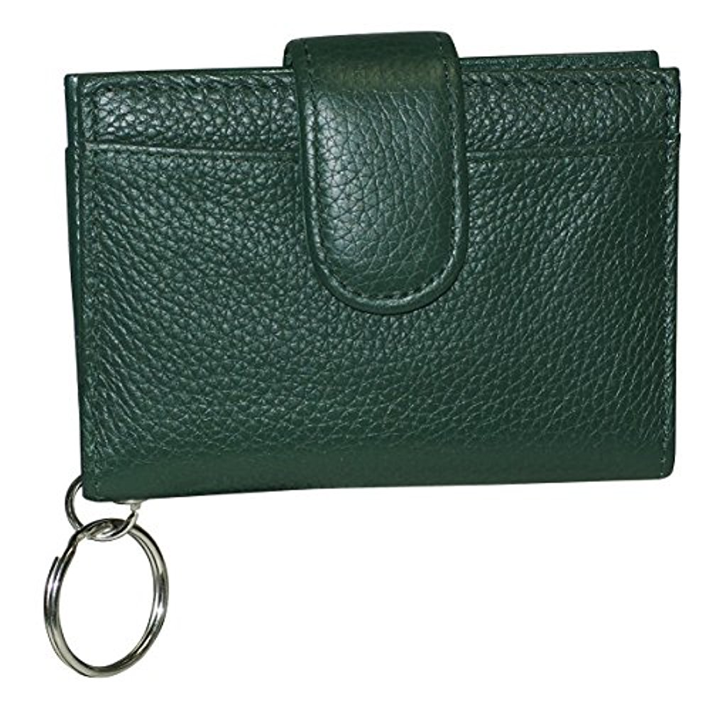 Buxton Womens Leather Key Chain Id Card Case Wallet (Pineneedle Green)