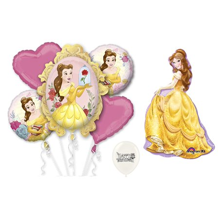 Beauty And The Beast Birthday Supplies (Disney Beauty and the Beast Belle Princess Happy Birthday Party Supplies and Decorations Balloon Bouquet by)