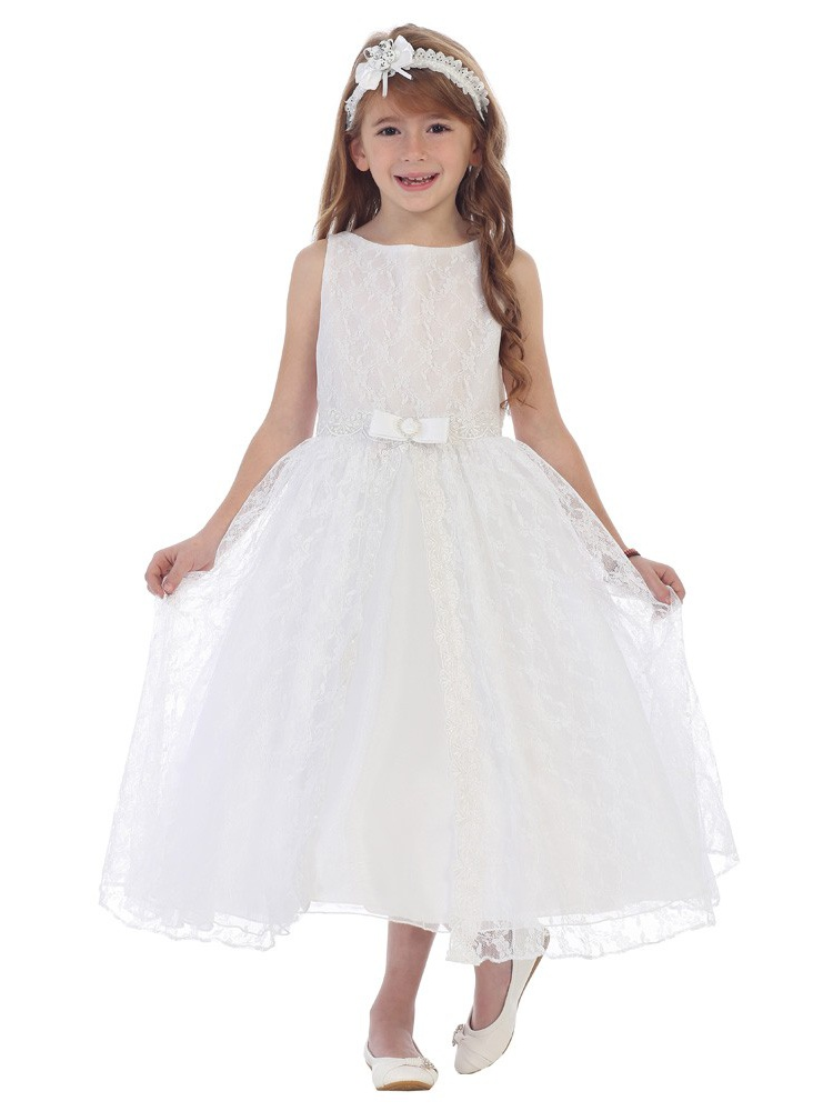 Chic Baby Girls White Lace Overlay Bow Junior Bridesmaid Easter Dress