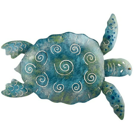 Coastal Living Nautical Big Blue and Green Sea Turtle Metal 20 Inch Wall - Sea Turtle Wall Sculpture