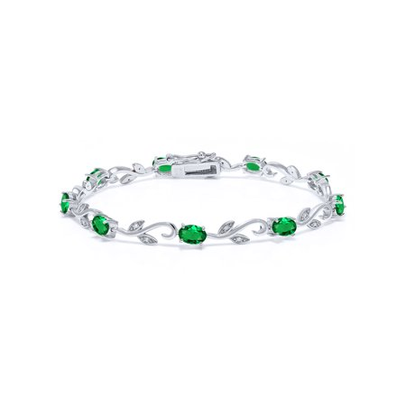 3.73 Ct Oval Green Simulated Emerald White Diamond 925 Sterling Silver Bracelet
