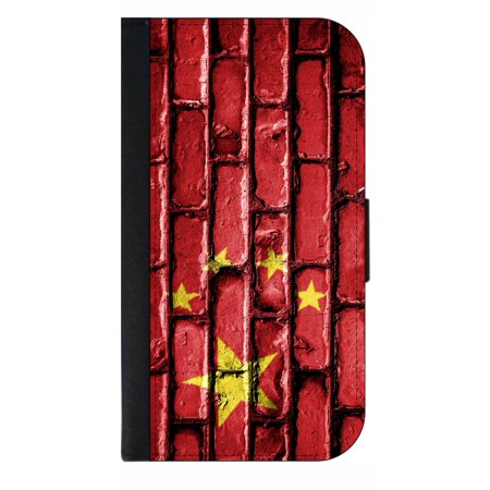 China Flag in Brick Wall Print - Wallet Style Cell Phone Case with 2 Card Slots and a Flip Cover Compatible with the Apple iPhone 7 Plus and 8 Plus