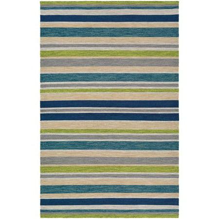 Ebern Designs Cordero Hand Woven Ocean Blue Indoor Outdoor Area Rug