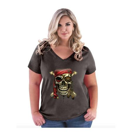 Plus Size Pirate Shirt (Pirate Skull Costume Women's Curvy Plus Size V-Neck)