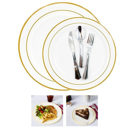 (Gold Rim Bulk Dinner Wedding Disposable Plastic Plates Silverware Party)