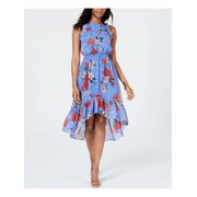 VINCE CAMUTO Womens Blue Floral Sleeveless Halter Below The Knee Sheath Dress Petites  Size: 2P
