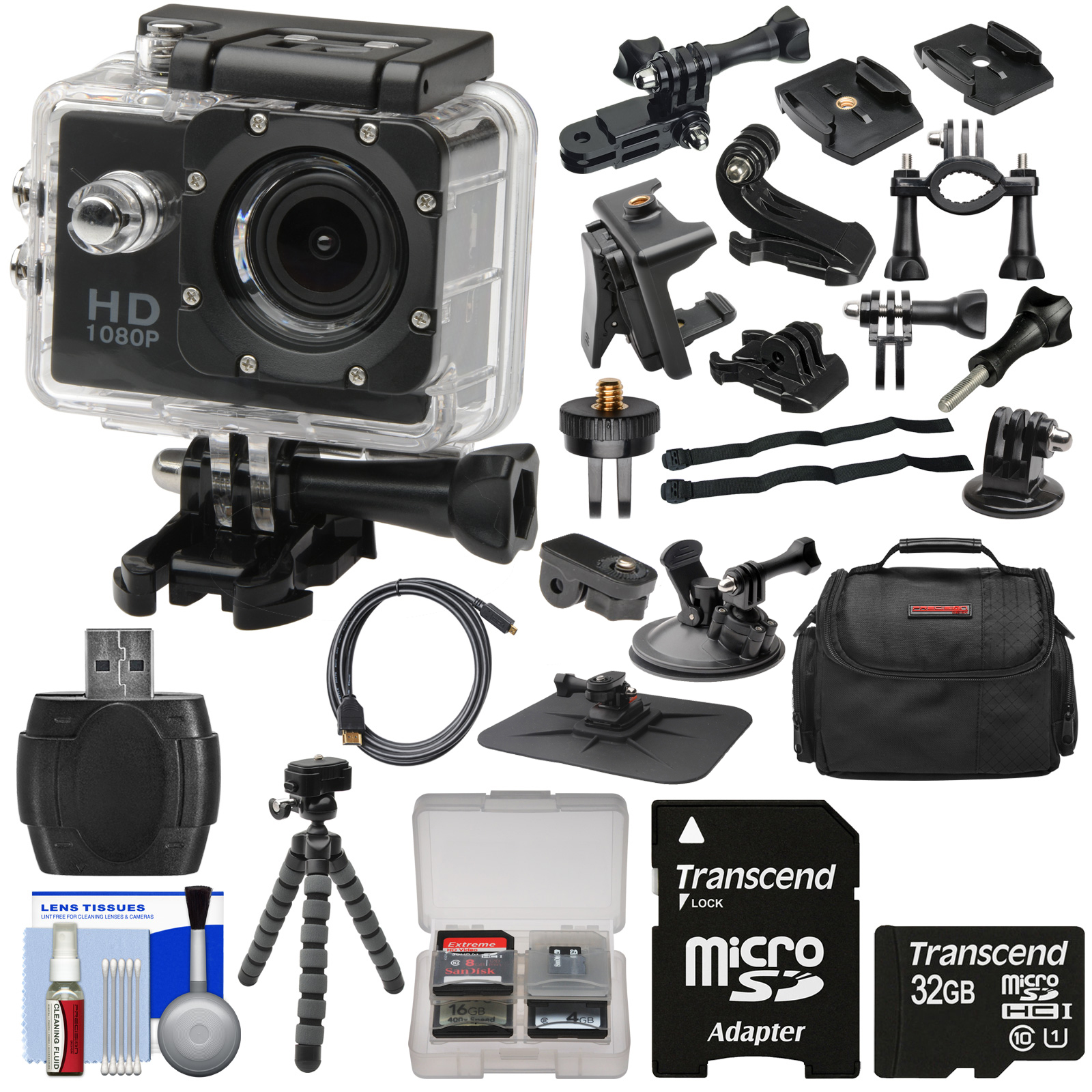Zuma HD DVR 1080p Sports Video Recorder Action Camera Camcorder with LCD Screen & Action, Bike, Suction Cup & Dashboard Mounts + 32GB Card + Case + Flex Tripod + Kit
