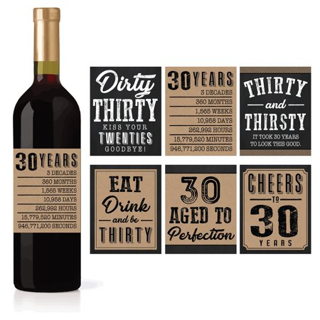 6 30th Birthday Wine or Beer Bottle Labels Stickers Present, Dirty Thirsty Thirty Bday Gifts For Him Men, Cheers to 30 Years, Funny Unique Party Decorations and Novelty Supplies For Man (Dirty Thirty Birthday Party Ideas For A Guy)