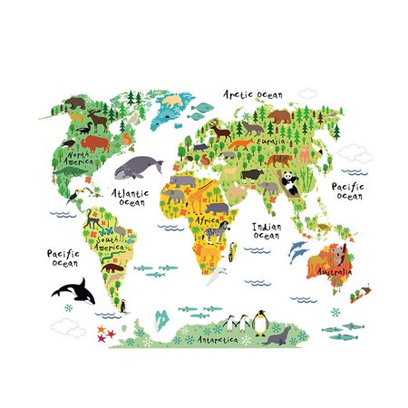 Colorful animal world map wall sticker home decal mural art diy wall colorful animal world map wall sticker home decal mural art diy wall art gumiabroncs Image collections