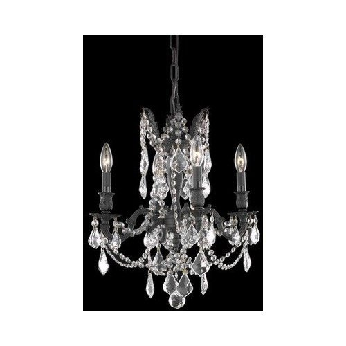 9204 Rosalia Collection Hanging Fixture D17in H21in Lt:4 Dark Bronze Finish (Royal Cut Golden Teak Crystals)