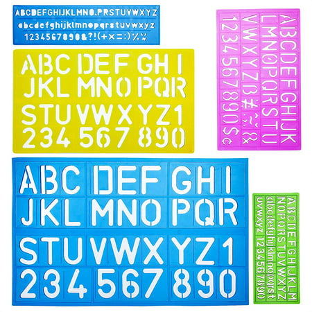 Mr. Pen- Alphabet Templates, Alphabet Stencils, Pack of 5, Letter Stencils, Template Letters, Stencils Letters and Numbers, Art Stencils, Drawing Tools, Drafting Supplies, Tracing Letters and - Letters Stencils