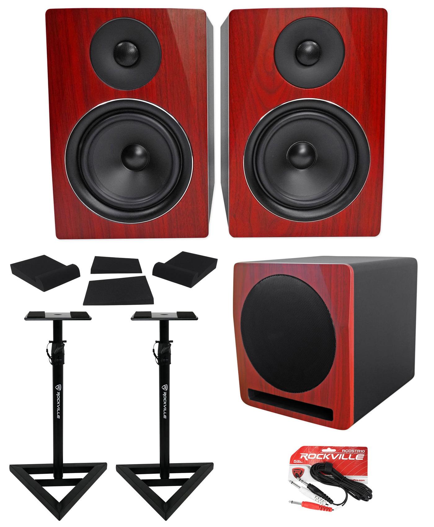 "2) Rockville APM6C 6.5"" Powered Studio Monitors+Active 10"" Subwoofer+Stands+Pads by ROCKVILLE"