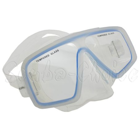 Scuba Diving Snorkeling Comocean Clear Silicone Dive Mask w/ Blue Trim