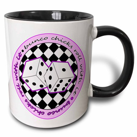 - 3dRose Bunco Chicks Roll With It Purple and White - Two Tone Black Mug, 11-ounce