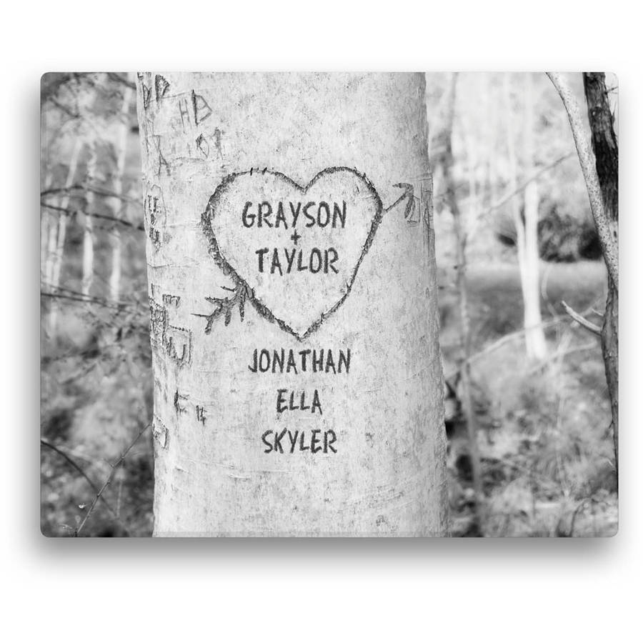 Personalized Carved Tree Canvas In Black and White Available In Multiple Sizes