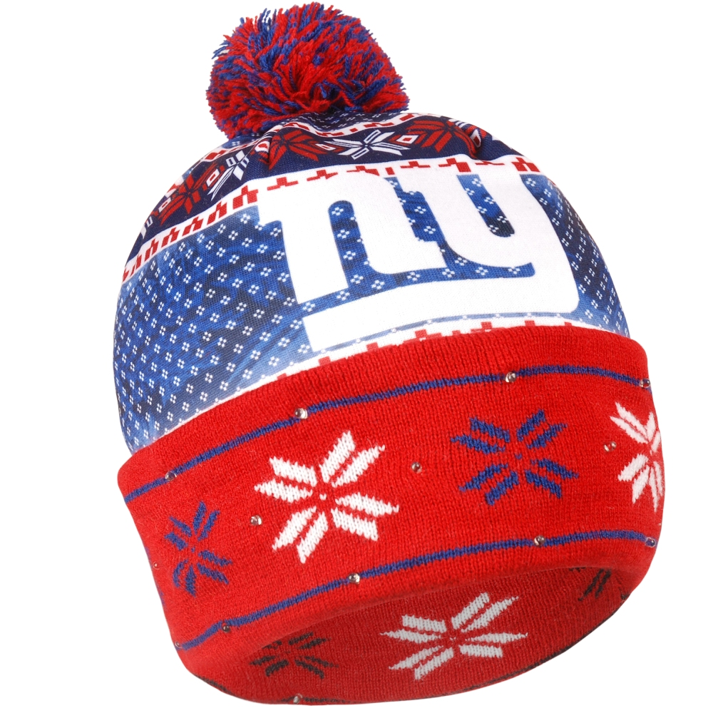 "New York Giants NFL ""Ugly"" LED Light Up Cuffed Knit Hat with Pom by Forever Collectibles"