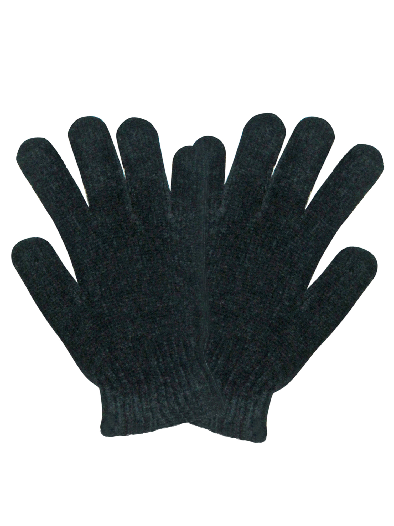 Black Chenille 4 Pack Womens Stretchy Knit Winter Gloves by Winter Gloves