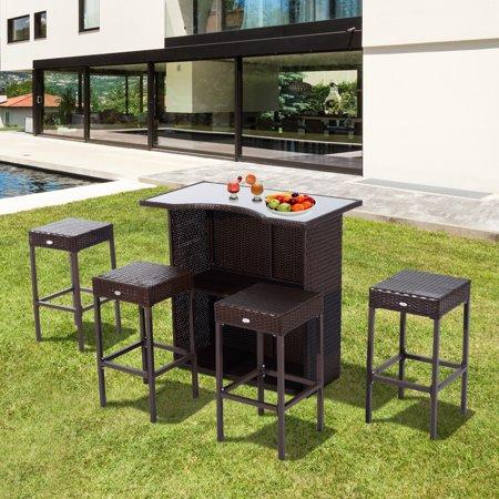 5 Piece Backyard Patio Rattan Wicker Outdoor Bar and Stool Set ()