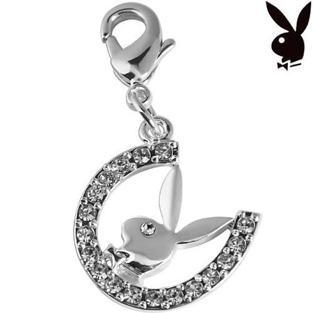 Playboy Charm Horseshoe Bunny Swarovski Crystals Lobster Clasp Clip On Horse Shoe