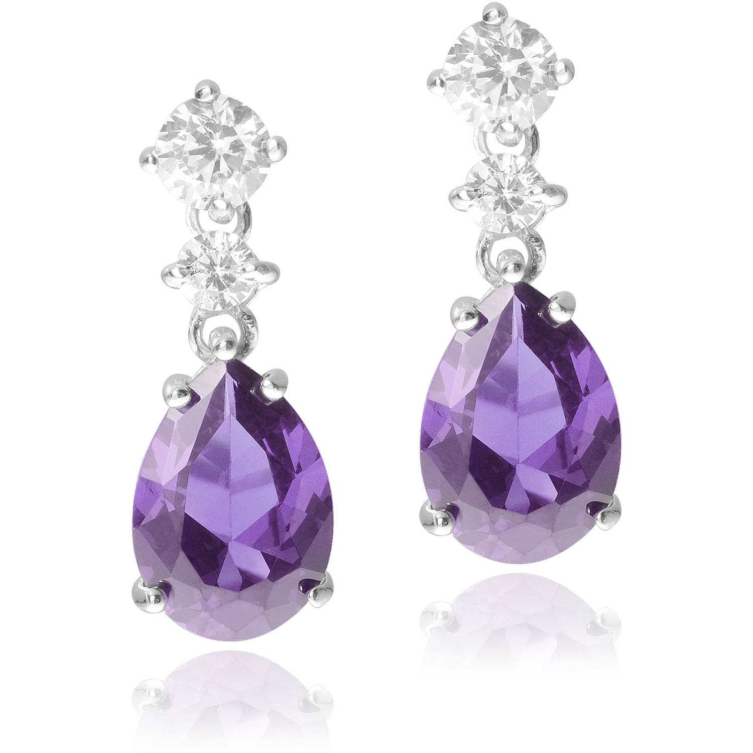 Brinley Co. Women's CZ Sterling Silver Teardrop Dangle Earrings, Purple