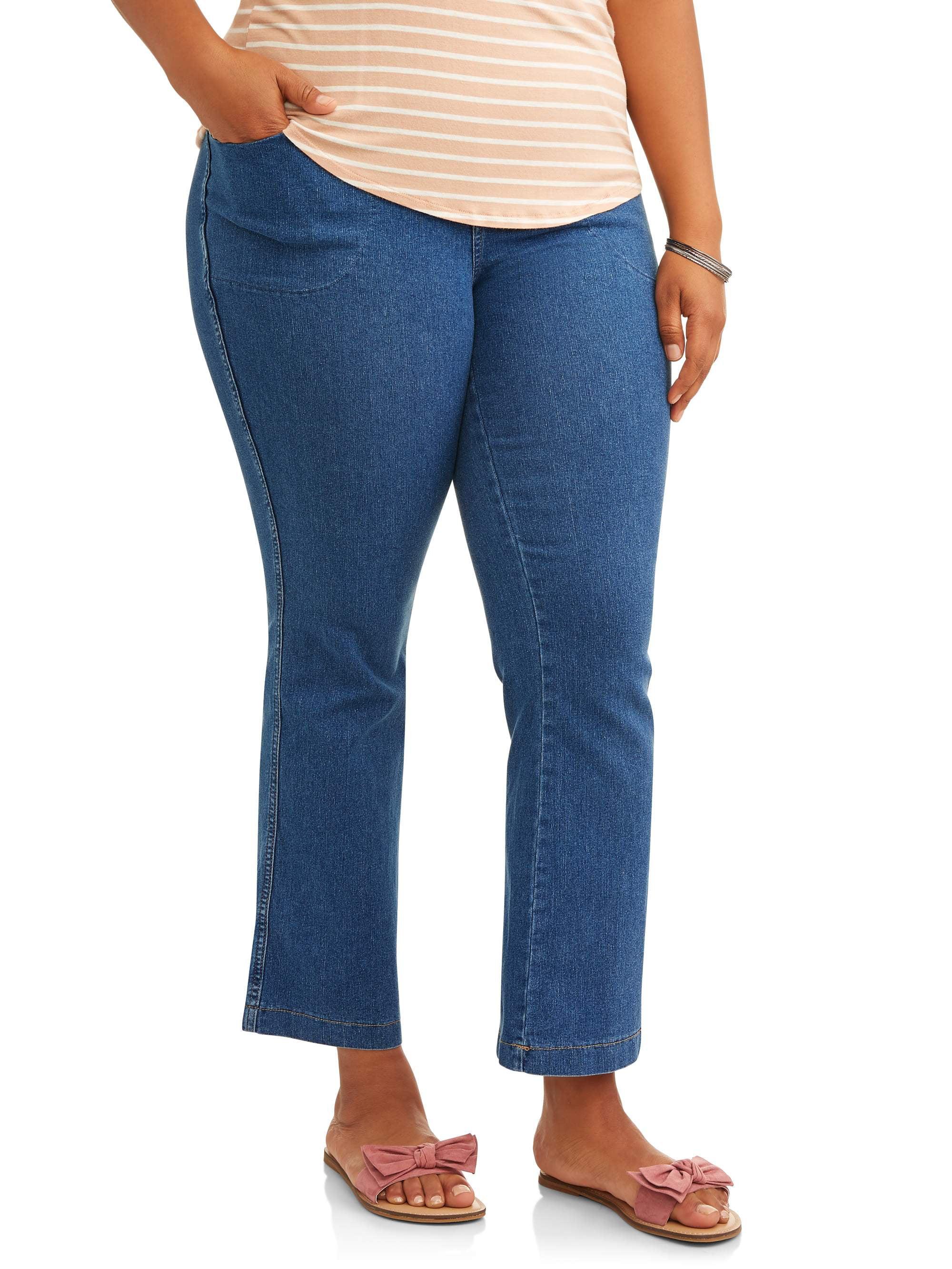 6b23ec92f Just My Size Women's Bootcut Pull-on Denim Jeans Medium Stone Wash 1x Petite