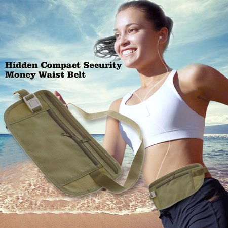 Durable Lightweight Travel Pouch Hidden Compact Security Money Waist Belt Army Green