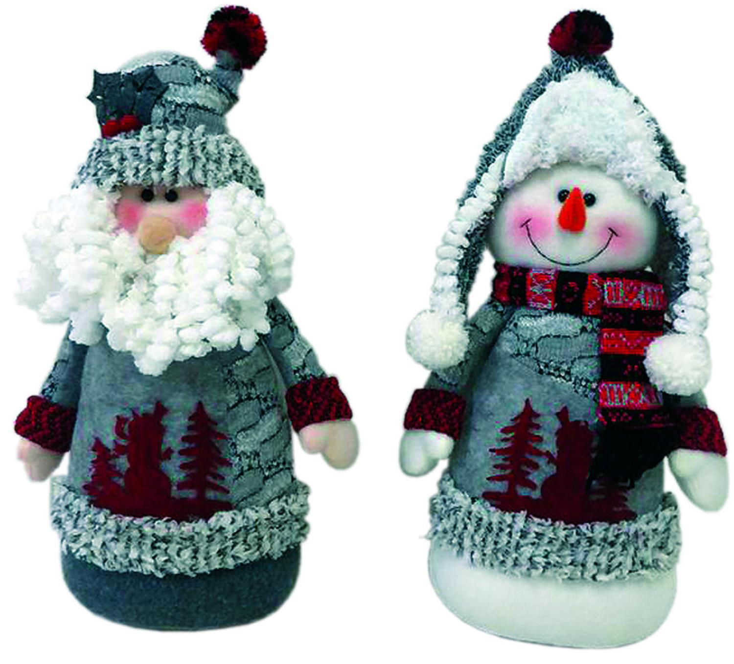Set of 2 Artic Santa Claus and Snowman Plush Christmas Sitting Figures 13""